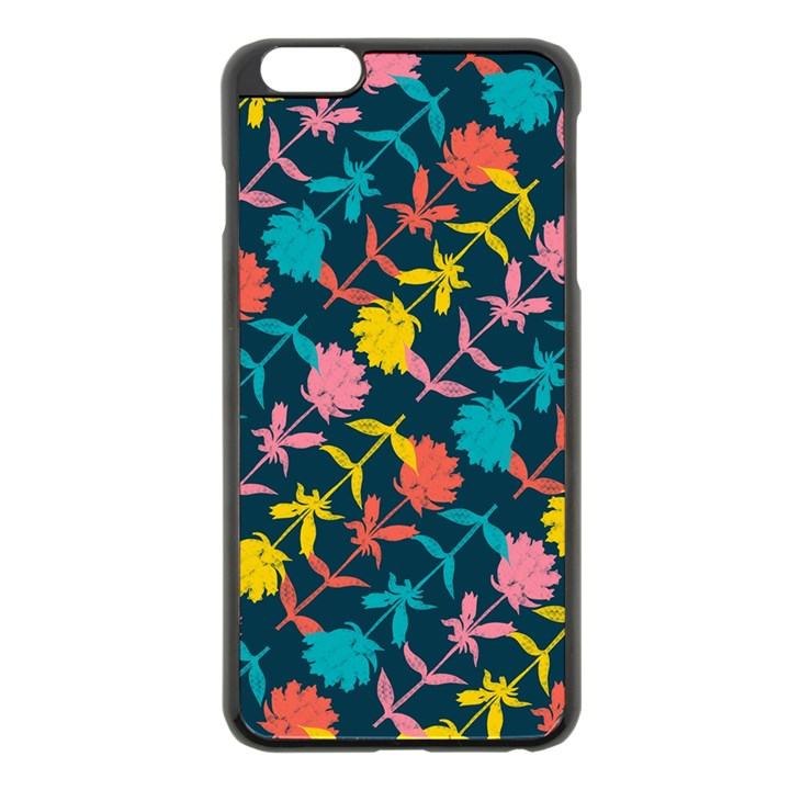 Colorful Floral Pattern Apple iPhone 6 Plus/6S Plus Black Enamel Case