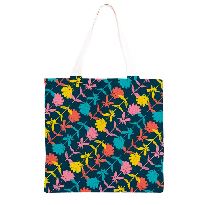 Colorful Floral Pattern Grocery Light Tote Bag