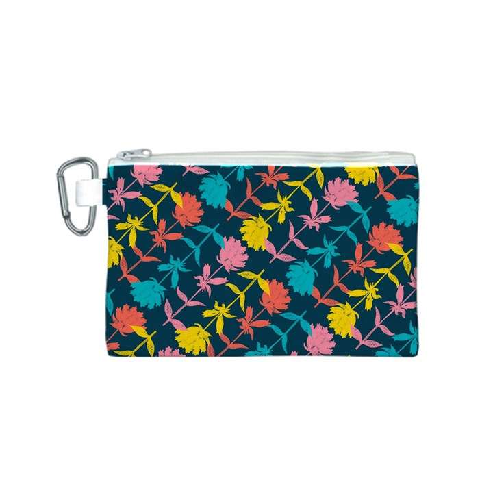 Colorful Floral Pattern Canvas Cosmetic Bag (S)
