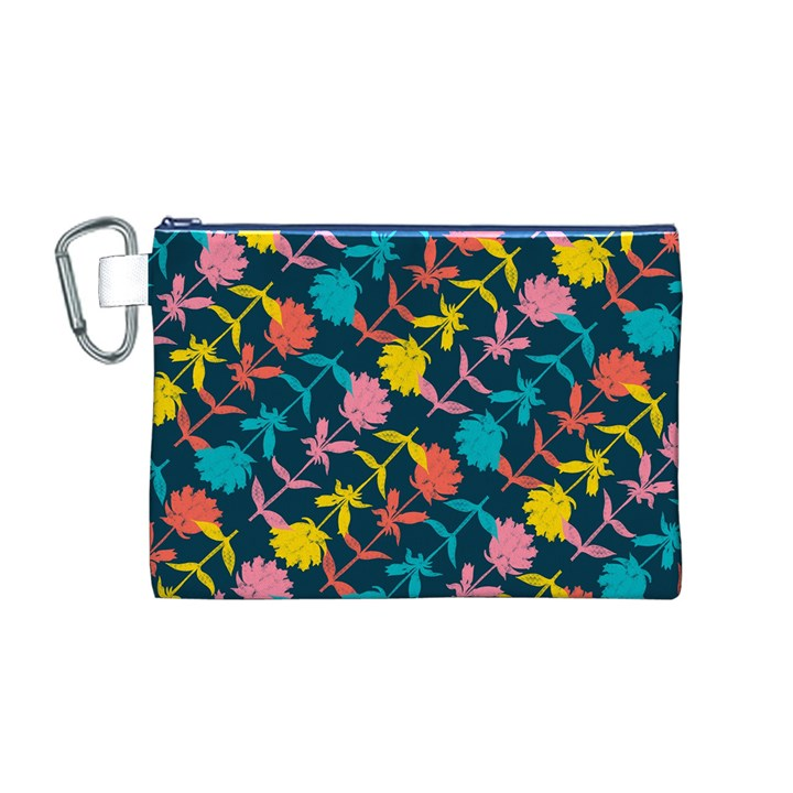 Colorful Floral Pattern Canvas Cosmetic Bag (M)