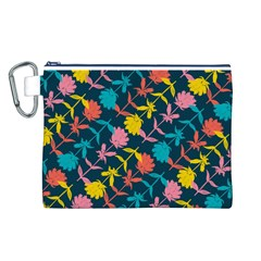 Colorful Floral Pattern Canvas Cosmetic Bag (l)