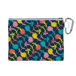 Colorful Floral Pattern Canvas Cosmetic Bag (L) Back