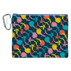 Colorful Floral Pattern Canvas Cosmetic Bag (XXL)