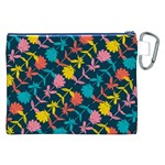 Colorful Floral Pattern Canvas Cosmetic Bag (XXL) Back