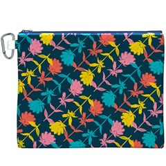 Colorful Floral Pattern Canvas Cosmetic Bag (XXXL)