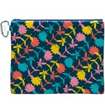 Colorful Floral Pattern Canvas Cosmetic Bag (XXXL) Front