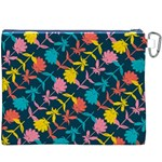 Colorful Floral Pattern Canvas Cosmetic Bag (XXXL) Back