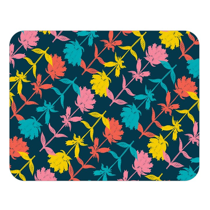 Colorful Floral Pattern Double Sided Flano Blanket (Large)