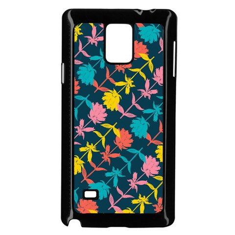 Colorful Floral Pattern Samsung Galaxy Note 4 Case (Black)