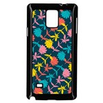 Colorful Floral Pattern Samsung Galaxy Note 4 Case (Black) Front