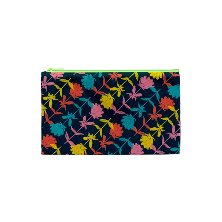 Colorful Floral Pattern Cosmetic Bag (XS)
