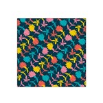 Colorful Floral Pattern Satin Bandana Scarf Front