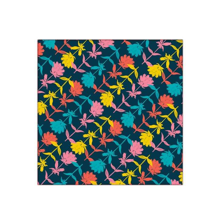 Colorful Floral Pattern Satin Bandana Scarf