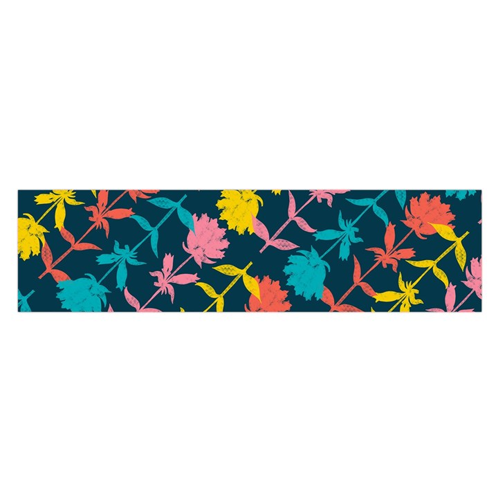 Colorful Floral Pattern Satin Scarf (Oblong)