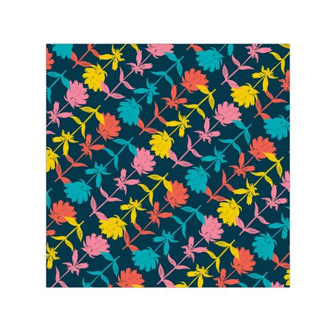 Colorful Floral Pattern Small Satin Scarf (Square)
