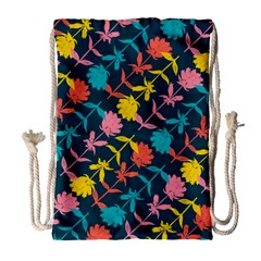 Colorful Floral Pattern Drawstring Bag (large)