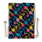 Colorful Floral Pattern Drawstring Bag (Large) Front