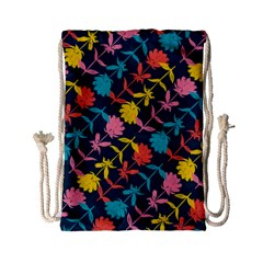 Colorful Floral Pattern Drawstring Bag (Small)