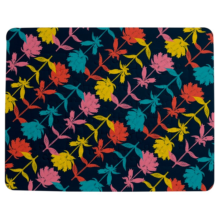 Colorful Floral Pattern Jigsaw Puzzle Photo Stand (Rectangular)