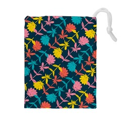 Colorful Floral Pattern Drawstring Pouches (Extra Large)