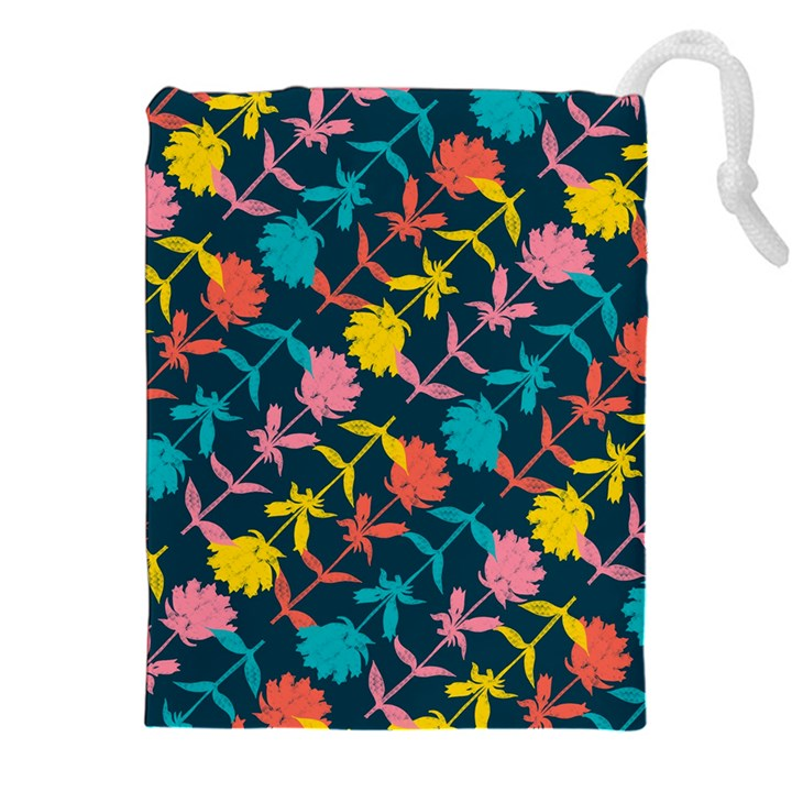 Colorful Floral Pattern Drawstring Pouches (XXL)
