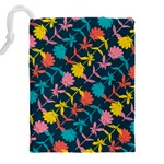 Colorful Floral Pattern Drawstring Pouches (XXL) Back