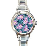 Whimsical Garden Round Italian Charm Watch Front