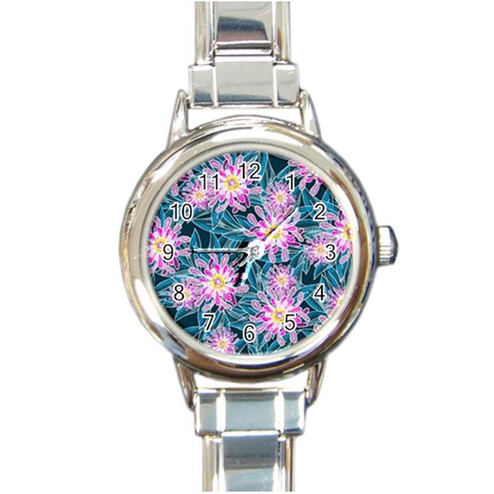 Whimsical Garden Round Italian Charm Watch