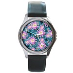 Whimsical Garden Round Metal Watch Front