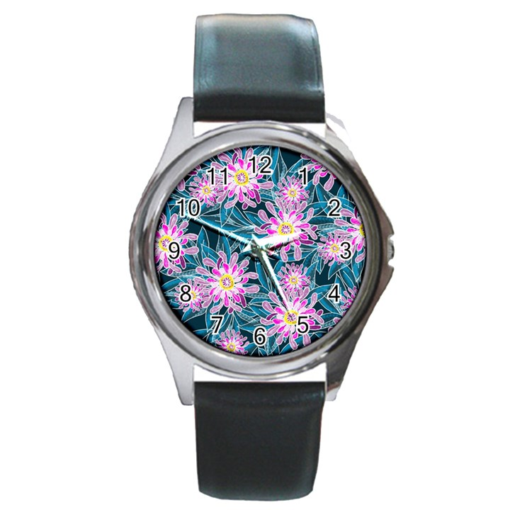 Whimsical Garden Round Metal Watch