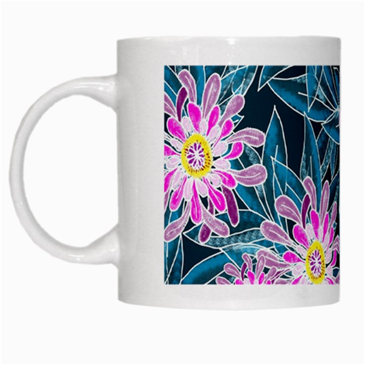 Whimsical Garden White Mugs
