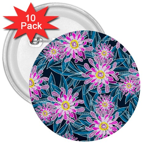 Whimsical Garden 3  Buttons (10 pack)