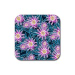 Whimsical Garden Rubber Square Coaster (4 pack)  Front