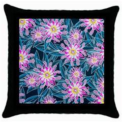 Whimsical Garden Throw Pillow Case (black)