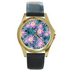 Whimsical Garden Round Gold Metal Watch