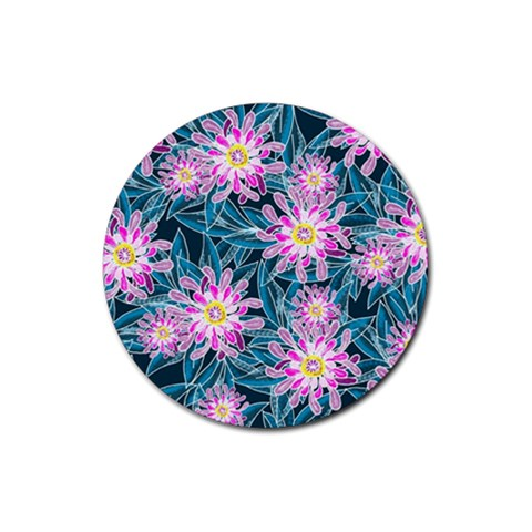 Whimsical Garden Rubber Round Coaster (4 pack)