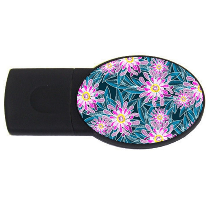 Whimsical Garden USB Flash Drive Oval (1 GB)