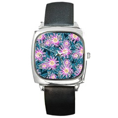 Whimsical Garden Square Metal Watch