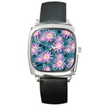 Whimsical Garden Square Metal Watch Front