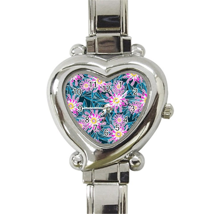 Whimsical Garden Heart Italian Charm Watch