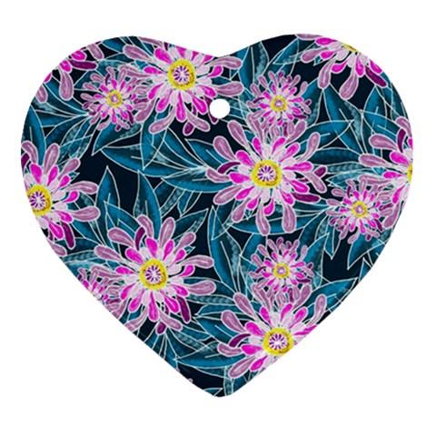 Whimsical Garden Heart Ornament (2 Sides)
