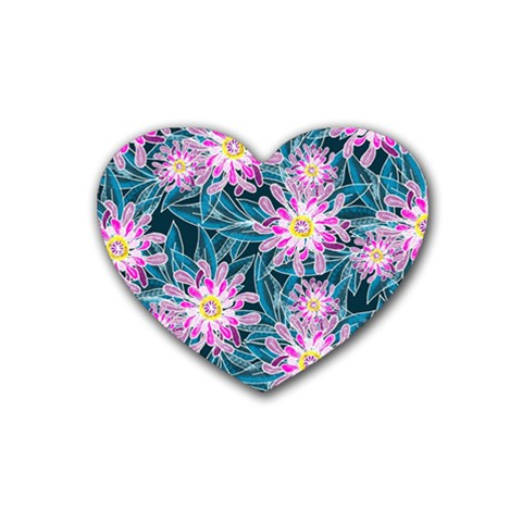 Whimsical Garden Rubber Coaster (Heart)