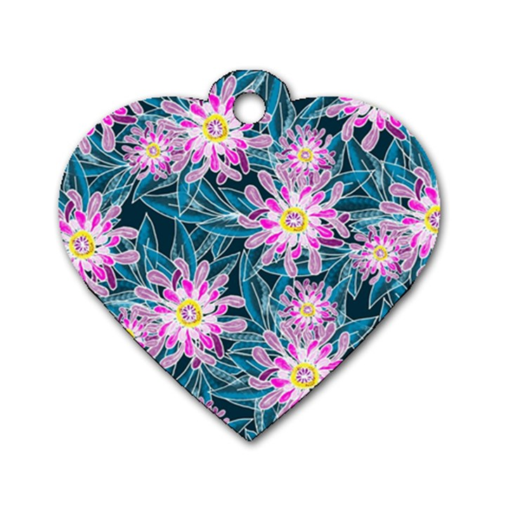 Whimsical Garden Dog Tag Heart (One Side)