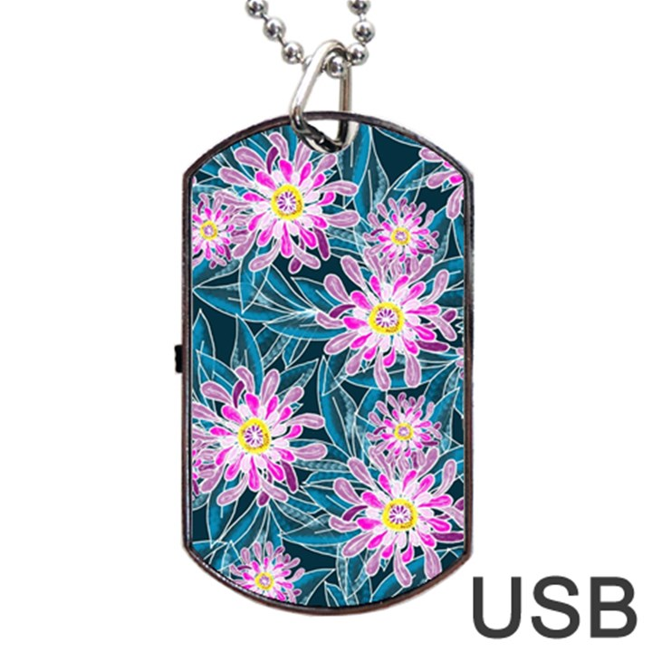 Whimsical Garden Dog Tag USB Flash (One Side)