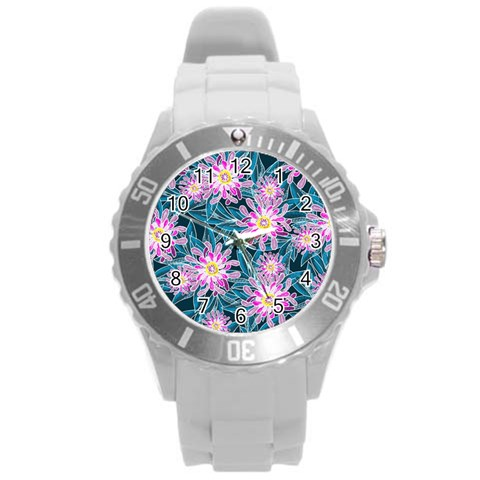 Whimsical Garden Round Plastic Sport Watch (L)