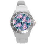 Whimsical Garden Round Plastic Sport Watch (L) Front