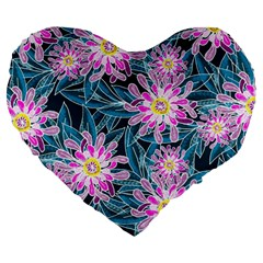 Whimsical Garden Large 19  Premium Heart Shape Cushions