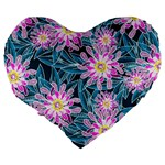 Whimsical Garden Large 19  Premium Heart Shape Cushions Back