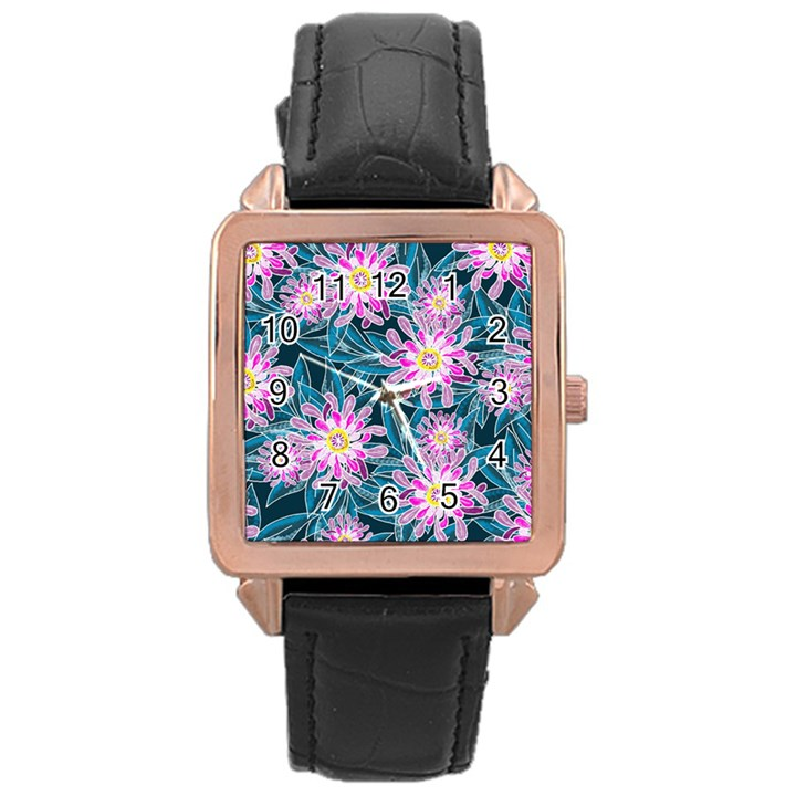 Whimsical Garden Rose Gold Leather Watch
