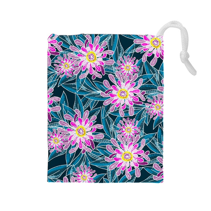 Whimsical Garden Drawstring Pouches (Large)
